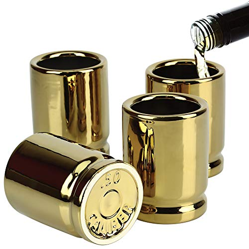 Barbuzzo 50 Caliber Shot Glass - Set of 4 Shot Glasses Shaped like Bullet Casings - Step up to the Bar Line Em Up and Take Your Best Shot - Great Addition to the Mancave - Each Shot Holds 2-Ounces