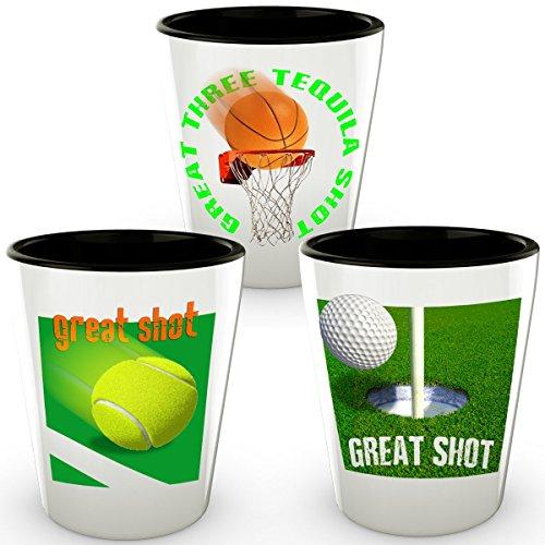 Golf Shot Glass Basketball Shot Glass Tennis Shot Glass - Sport Shot Glass Set - 3 Shot Glass Set Gift