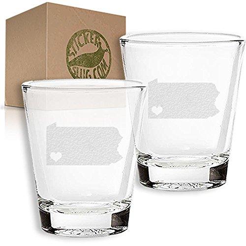 Stickerslug Engraved Pennsylvania State Love Shot Glasses 15 ounce Set of 2
