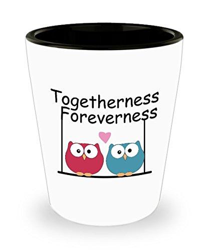 Together Forever Valentines Day Owl Love Shot Glass Sayings - Valentines Day Shot Glasses Gifts