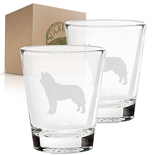 Siberian Husky Dog etched glass shot glass set of two etch shot glasses for bar