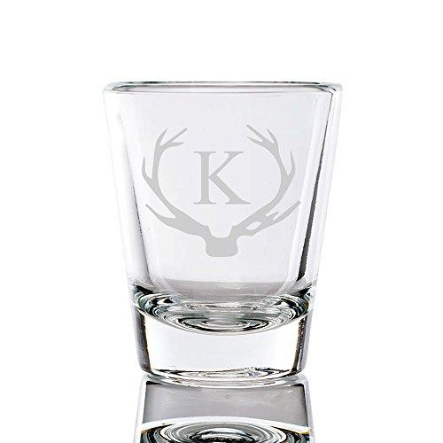 Antler Initial Fluted Shot Glass 15-ounce Letter K