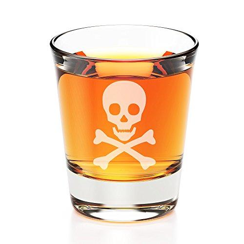Skull Poison Design Engraved Fluted Shot Glass