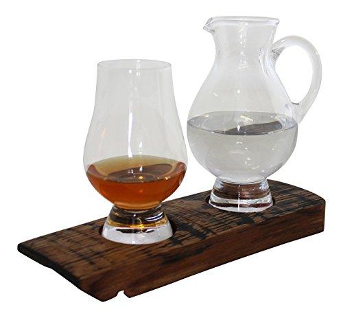 Reza Oak Wood Scotch Whisky Barrel Tasting Tray with Glencairn Tasting Glass and Water Jug
