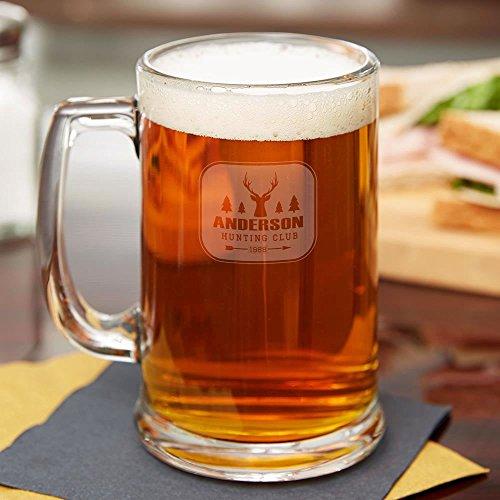 Hunting Club Personalized Beer Mug - Set of 4 - Laser Engraved  BBQ Fans