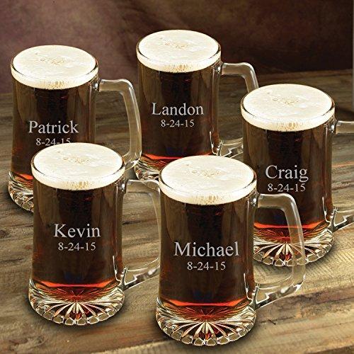 Personalized Beer Mug - Set of 5 - Beer Mug - Monogrammed Beer Mug Set of 5- Custom Engraved Groomsmen Beer Mug