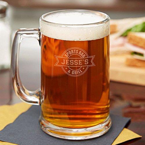 Sports Bar Personalized Beer Mug - Set of 4 - Laser Engraved  BBQ Fans