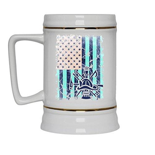 Firefighter White Beer Mug - Firefighter Beer Stein Ceramic Cool Design Gift For Friend Family White Beer Stein