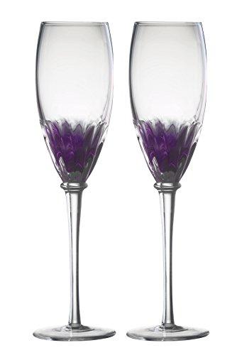 DRH Anton Studios Solar Set of 2 Champagne Glasses Flutes in Purple