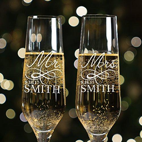 Lilys Atelier Set of 2 Mr Mrs Last Name Date Custom Wedding Toast Champagne Flute Set Wedding Toasting Glasses - Etched Flutes for Bride Groom Customized Wedding Gift E4