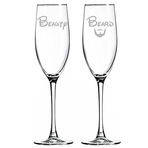 Beauty and Beard Champagne Toasting Flute Glasses Set of 2