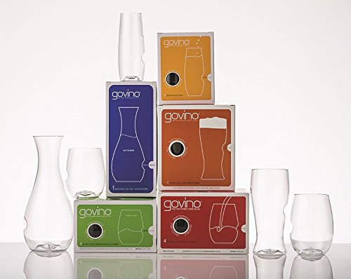 The govino Go Anywhere Classic Series 17-pc Variety Pack Set 4-16oz Wine Glass Set 4-12oz Cocktail Glass Set 4- 8oz Champagne Flute Set 4-16oz Beer Glass 1-28oz Decanter