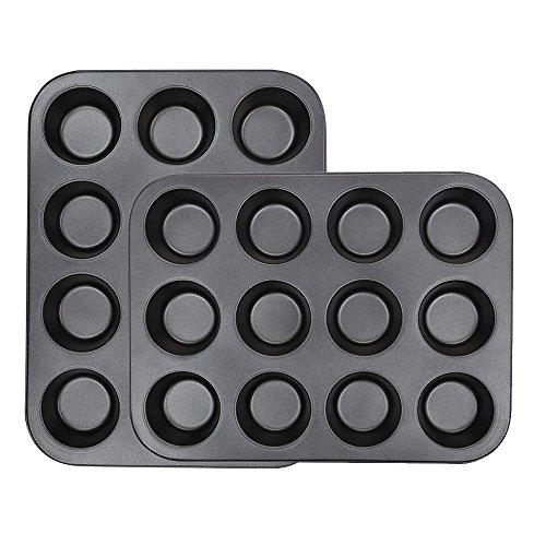 CUGBO 2 Pack DIY Baking Tray 12 Hole Round Cake Mold Cake Tools Non - Stick Coating Bakeware Baking Mold Square Oven Tray