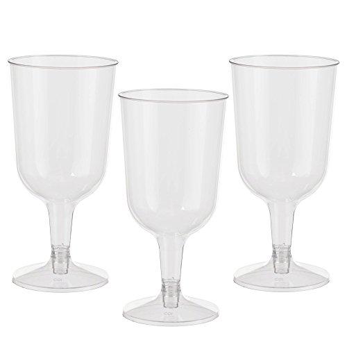 Exquisite 6 oz Clear Plastic Wine Glasses 2 Piece Stemmed Plastic Wine Cups- 100 Count