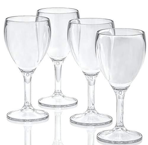 Roseone Kitchenware Unbreakable Red Wine Glasses set of 4 Unbreakable Plastic Glasses Shatterproof Wine Goblets  Dishwasher Safe  Poolside Drinkware  4 Red Wine Goblets 8 oz