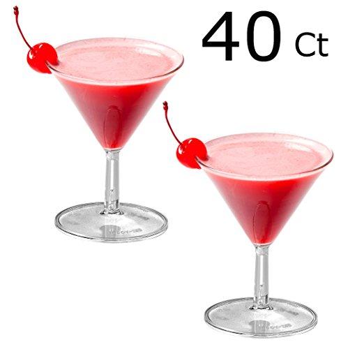 40 Mini Plastic Martini Glasses Clear Mini Dessert Cups Plastic Cocktail Glasses 2 piece Martini Glass Dessert Glasses Parfait Cups
