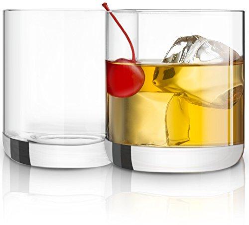 JoyJolt Nova Non-leaded Crystal Old Fashioned Whiskey Glasses Excellent For Cocktail Bourbon Rocks Tumbler Glass 10 Ounce Bar Glassware Set of 2