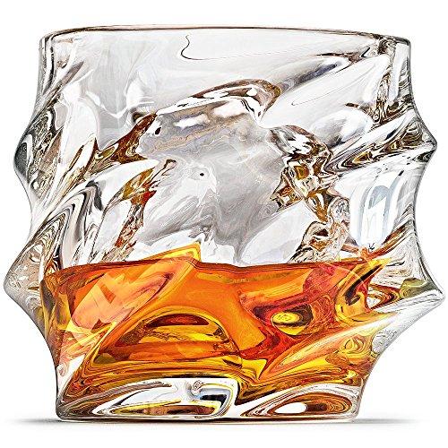 Everest Whiskey Glasses Scotch Glasses By Ashcroft - Set Of 2 Unique Elegant Dishwasher Safe Glass Liquor or Bourbon Tumblers Ultra-Clarity Glassware