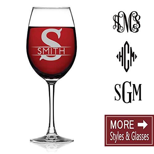 Custom Monogram Lead Free Stemmed 16oz Red White Wine Glass Engravable Durable Chip Resistant Rim Sleek Modern Minimal Professional Personalized Drinking Premium Glass