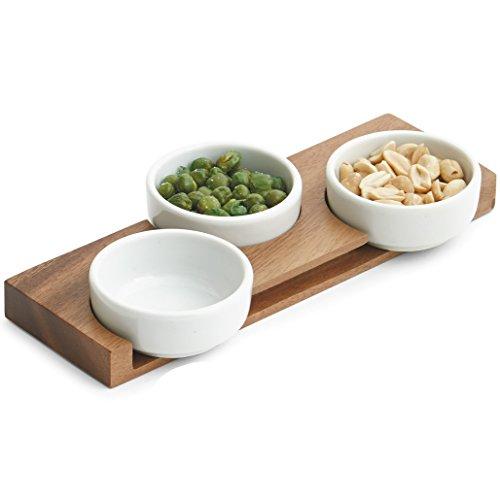 Woodard Charles 4 Piece Acacia Wood Ceramic Pinch Bowl Set 9 x 3 x 75