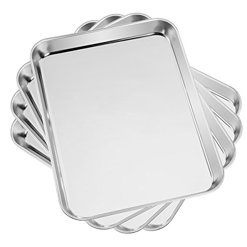 Baking Cookie Sheets Set of 4 Yododo Stainless Steel Compact Toaster Oven Pan Tray Ovenware Professional Size 1023 x 826 x 1 inch Heavy Duty Deep Edge Superior Mirror Finish Dishwasher Safe