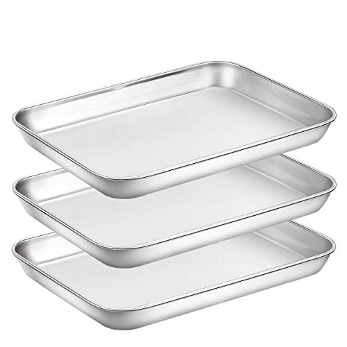 Baking Sheet Pan for Toaster Oven Stainless Steel Baking Pans Small Metal Cookie Sheets by Umite Chef Superior Mirror Finish Easy Clean Dishwasher Safe 9 x 7 x 1 inch 3 Pieceset