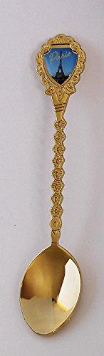 "Paris France Eiffel Tower Souvenir Gold Plated Collectible Twist Spoon 5"" Lpco"