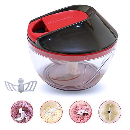 Mini Chopper Manual VeggiChop Hand-Powered Food Chopper Hand Pull Mincer