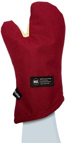 San Jamar KT0215 Kool-Tek Nomex Conventional Temperature Protection Oven Mitt 15 Length Red