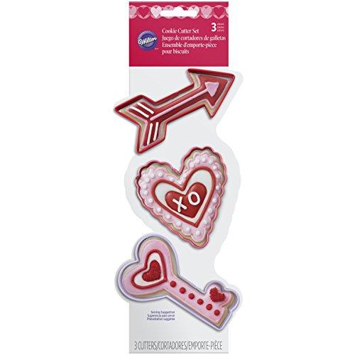 Wilton Metal Arrow Heart Key 3 Piece Cookie Cutter Set Multicolor
