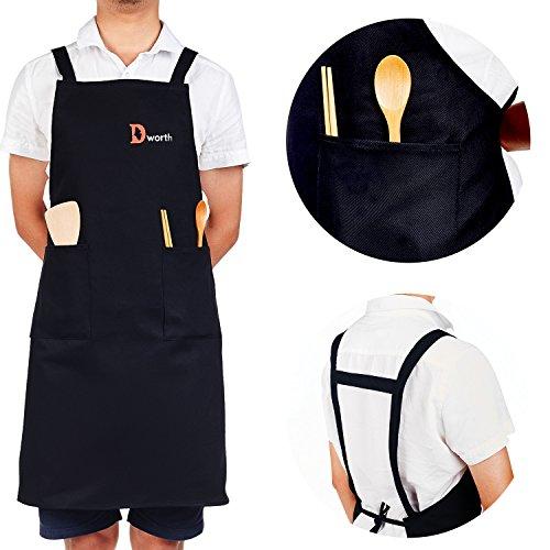 Dworth 100 Cotton Black Apron with Pockets - Kitchen ApronChef Apron