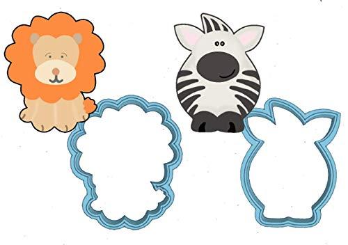 Zoo Animals Cookie Cutter Set - American Confections - Elephant Peanut Hippo Giraffe Zebra Lion - MADE IN THE USA Zebra Lion