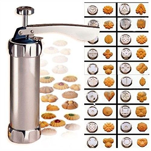 Biscuit Maker Cookie Press Stainless Steel Gun Set with Easy-Grip Trigger Handle Premium Grade tool