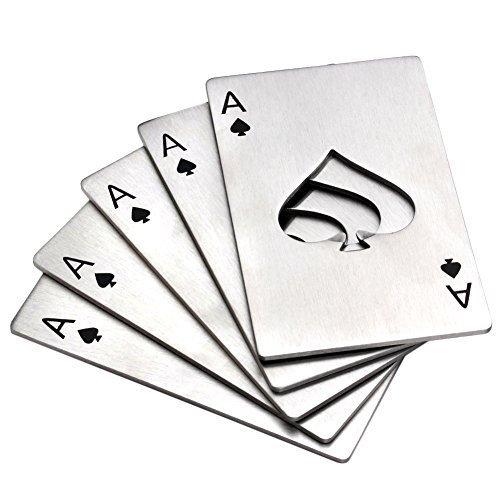 Bottle Opener Yerwal 5 Pcs Stainless Steel Credit Card Size Casino Bottle Opener for Your Wallet