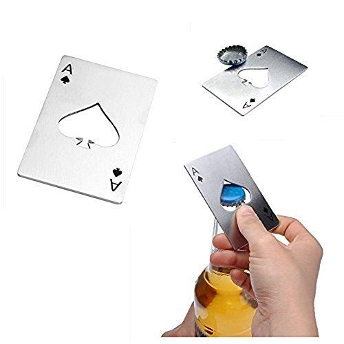 CUGBO 2 Pcs Bottle Opener Spades A Card Shape Bottle Opener Wallet-sized Stainless Steel Beer Opener