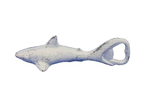 Whitewashed Cast Iron Shark Bottle Opener 6 - Shark Decoration - Sea Life Gift