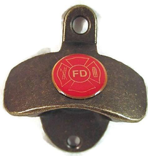 FD FIRE DEPARTMENT LOGO ON ANTIQUE BRASS FINISH METAL WALL MOUNTED BOTTLE CAP OPENER