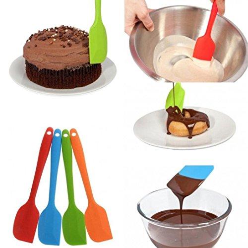 Zomup Heat Resistant Flexible Non-stick Silicone Spatulas Spoon Cake Spatula Scraping Kitchen Cook Tools Baking Scraper Random