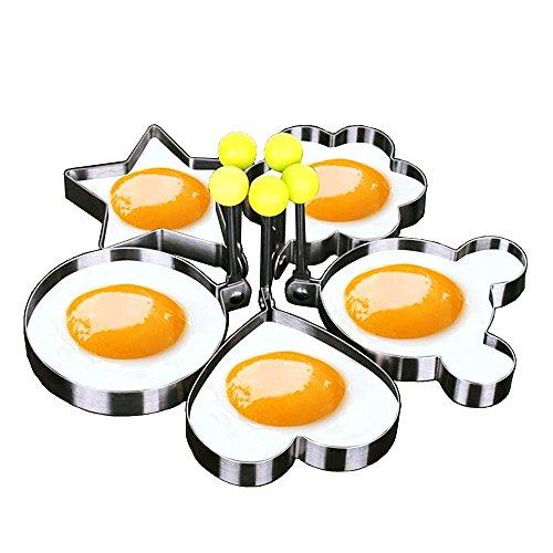 Makidar 5PCS Fried Egg Mold Egg Ring Egg shaper SUS304 Stainless Steel Pancake Mold Kitchen Tool Pancake Rings