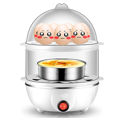 Egg Cooker Stainless Steel 1 - 7 Eggs 350 Watts Automatic Shutoff and Water Level Indicator White Multifunctional Electric Egg Boiler  Pink