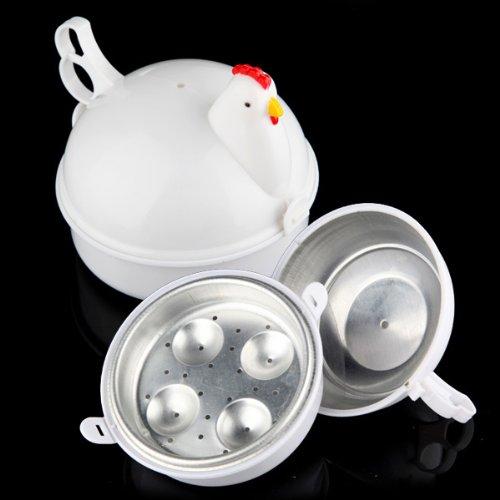 Microwave 4 Eggs Boiler Cooker Poacher Boiled Chicken Shaped