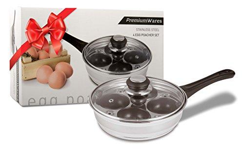 PremiumWares Poached Egg Maker - Nonstick 4 Egg Poaching Cups - Stainless Steel Egg Pan FDA Certified Food Grade Safe