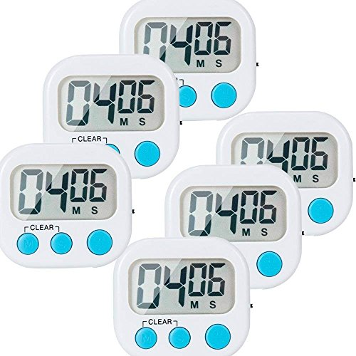 6 Pack Small Digital Kitchen Timer Magnetic Back And ONOFF SwitchMinute Second Count Up Countdown