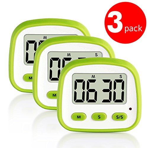 3 Pack Senbowe Digital Kitchen Timer with Large Display Screen Big DigitsLoud Alarm Strong Magnetic Backing StandHanging Hole for Cooking Baking Sports Office Countup&CountdownBattery Include