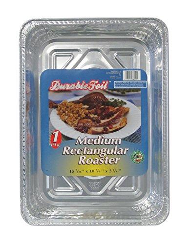 Durable Foil Medium Rectangular Aluminum Roasting Pan 10-34 x 15-316 x 2-18 Pack of 12