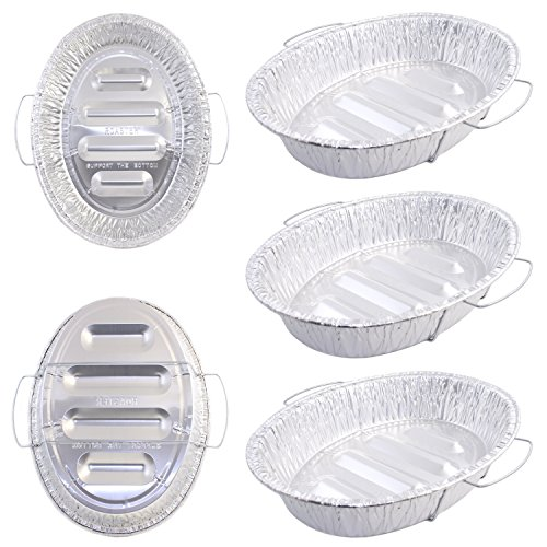 Pack of 5 Extra Large Disposable Aluminum Foil Roasting Pans with Handles Oval Shape Extra Large Size 18-12 X 14 X 3-38 Deep