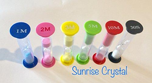 Sand Timer - Multicolor Sandglass Hourglass Sand Clock Timer 30sec  1min  2mins  3mins  5mins  10mins 6pcs By Sunrise Crystal