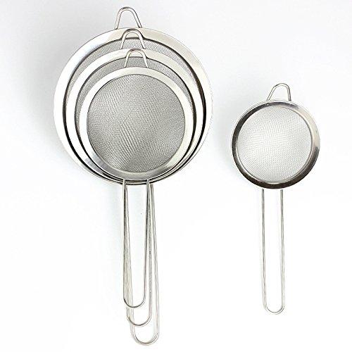 Aoher Flour SifterStainless Steel Kitchen Handheld Flour Powder Sifter Sieve Mesh Baking Icing Sugar Shaker Tool14cm