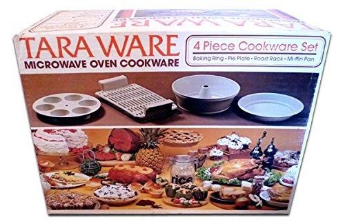Tara Ware Microwave Cookware 4 Piece Set - Baking Ring Pie Plate Roast Rack MuffinEgg Pan