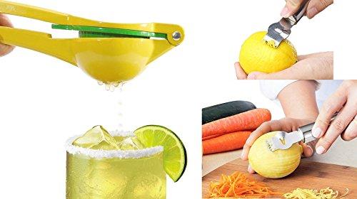 JUMBO Lemon Lime Squeezer  FREE Stainless Steel Lemon Zester with Channel Knife - Citrus Press Juicer  Chef Fruit Hand Juice Aluminum Metal Extractor Lemon Squeezer  Zester